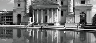 Reflections Of St. Charles Borromeo, Vienna (B&W)